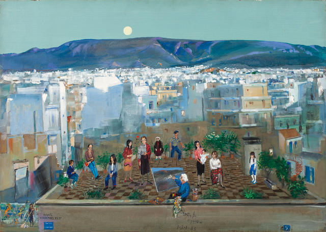 Spyros Vassiliou (Greek, 1902-1984) Rooftop in Athens  65 x 91.5 cm.