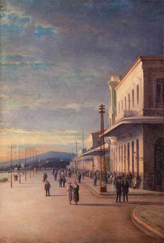 Ioannis Poulakas (Greek, 1864-1942) Promenade at the harbor of Volos 99 x 67 cm.