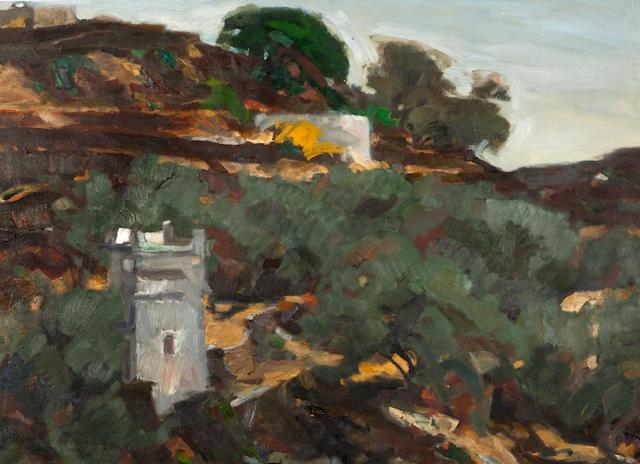 Panagiotis Tetsis (Greek, 1925-2016) Cycladic landscape with pigeon house 98 x 137 cm.
