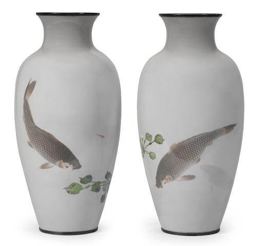 A fine pair of slender cloisonné-enamel baluster vases  By Namikawa Sosuke (1847-1910), Meiji era (1868-1912), late 19th century (2)
