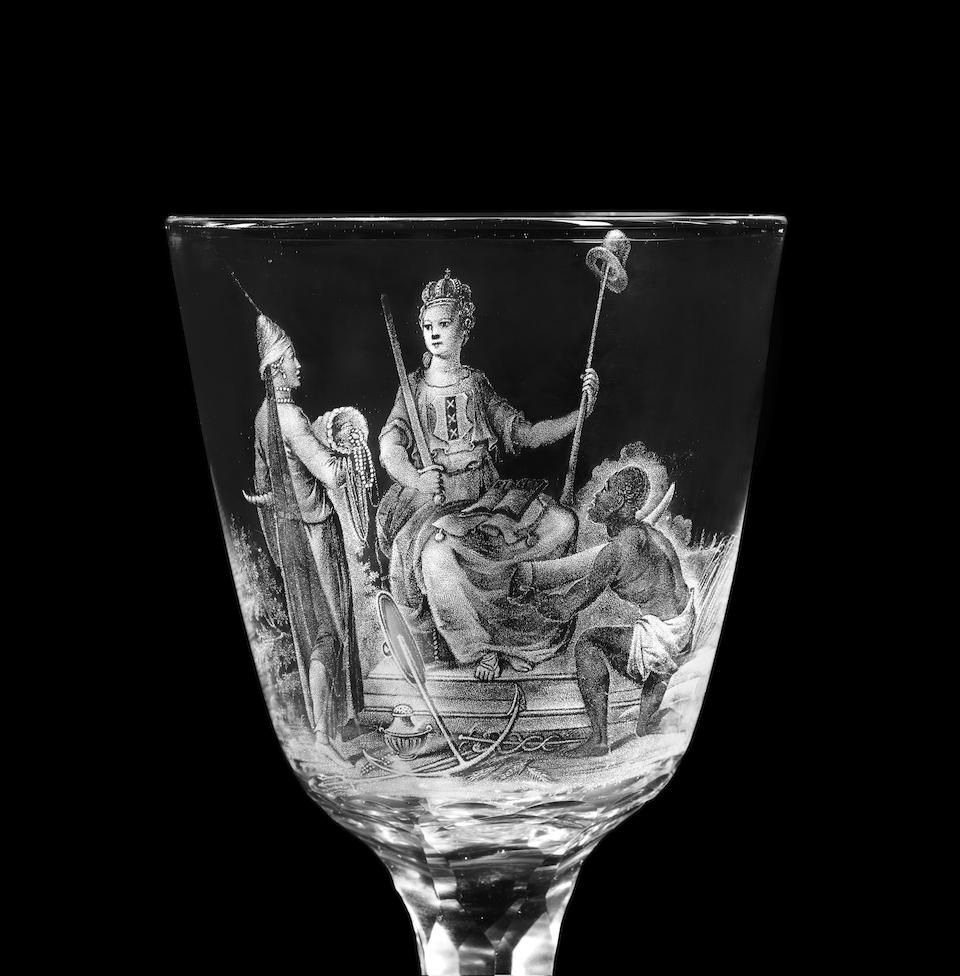 A superb Dutch stipple-engraved wine glass by David Wolff with an allegory of Amsterdam, circa 1787-90