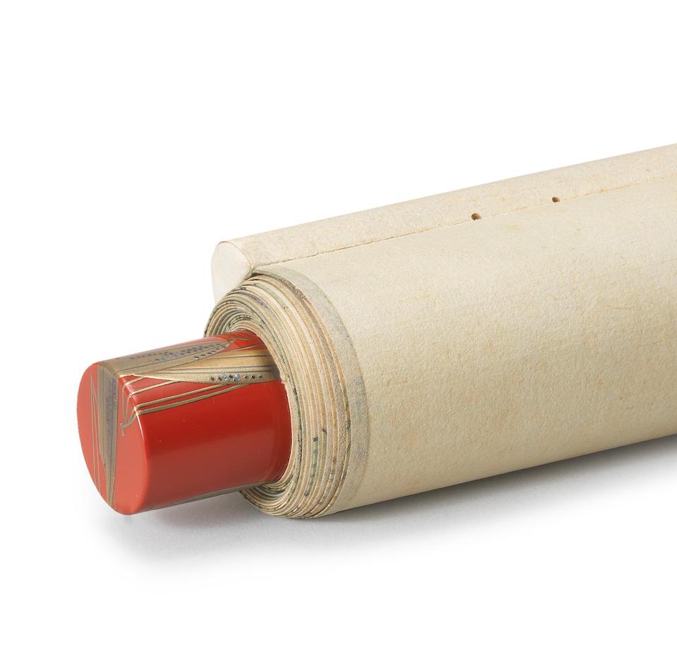 Shoji Chikushin (1855-1936), with scroll ends by Shoji Hoshin (1898-1993) Kaguyahime in a Bamboo Stem Showa era (1926-1989), 1930 (2)