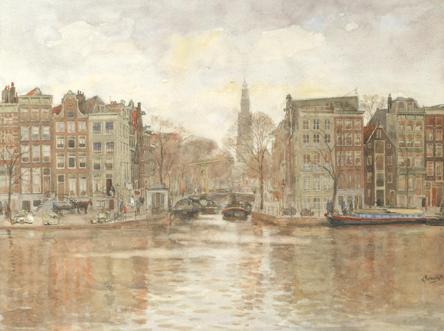 Felicien  Bobeldijk (1876-1964) A view of Amsterdam over a canal