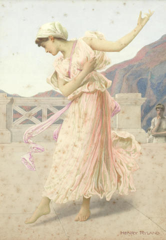 Henry Ryland (British, 1856-1924) 'Pas Seul' and 'Swans', a pair (2)