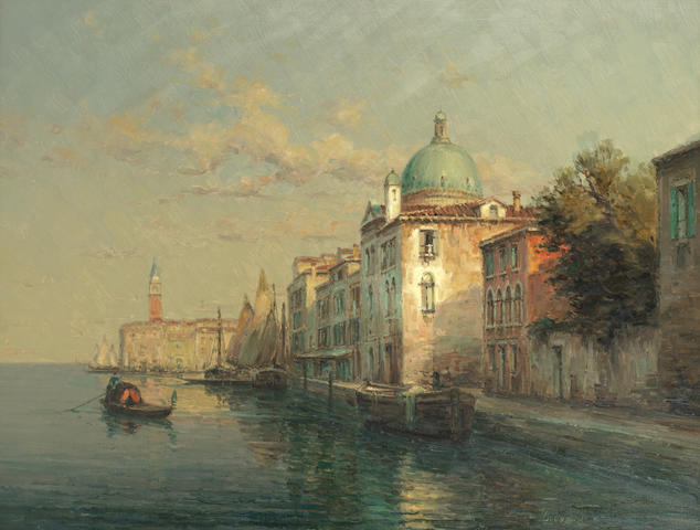 Noel Georges Bouvard (French, 1912-1975) Venetian canal with St Mark's Campanile beyond