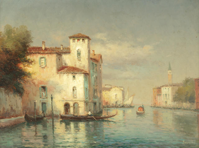 Noel Georges Bouvard (French, 1912-1975) Venetian gondoliers with the Campanile di San Marco in the distance