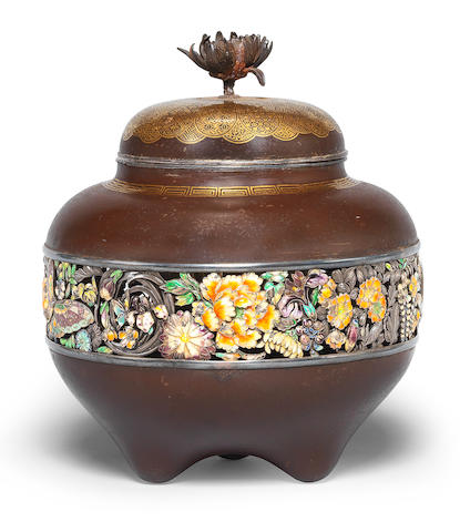 An inlaid-iron koro (incense burner) and cover  By Ono Ryumin, Meiji era (1868-1912), late 19th/early 20th century (5)