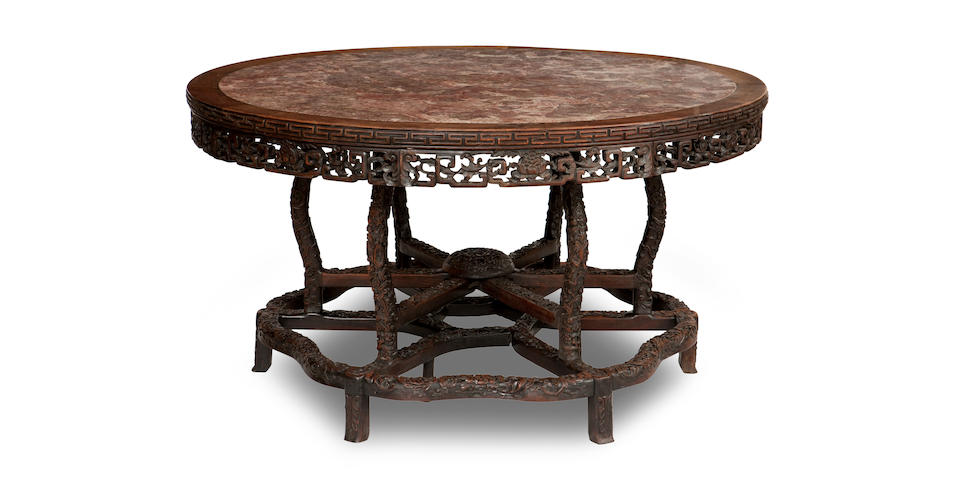 A blackwood and marble table Qing Dynasty, early 19th century