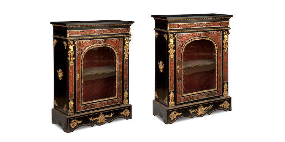 a pair of late 19th century boulle and gilt metal mounted cabinets