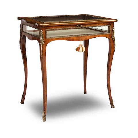 A late 19th Century rosewood and gilt metal mounted table vitrine