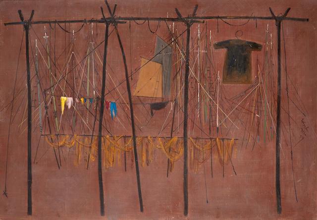 Spyros Vassiliou (Greek, 1902-1984) Fishing nets and caiques 80 x 116 cm.