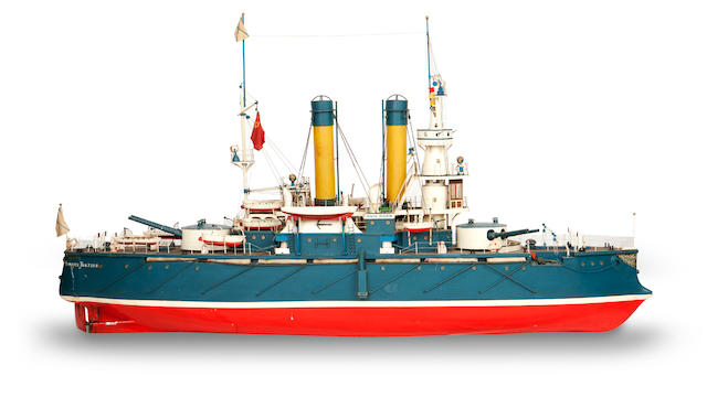 A large Ships model of the Russian ship Admiral Oushavov Built mid 20th century  163cm wide, 48cm deep, 100cm high