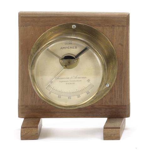 A large brass Ammeter by Chauvin & Arnoux of Paris, French,