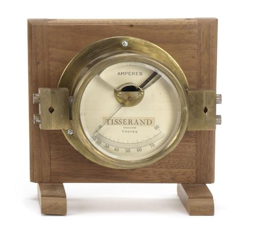 A large brass Ammeter by Tisserand of Troyes, French,