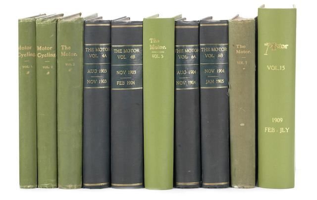 Motor Cycling and Motoring/The Motor: bound Volumes 1-7 (1902-1905) and Volume 15 (1909),   ((10))