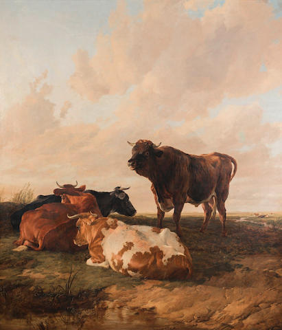 Thomas Sidney Cooper, RA (British, 1803-1902) The Lord of the Herd: a bull and three cows in a pasture - evening