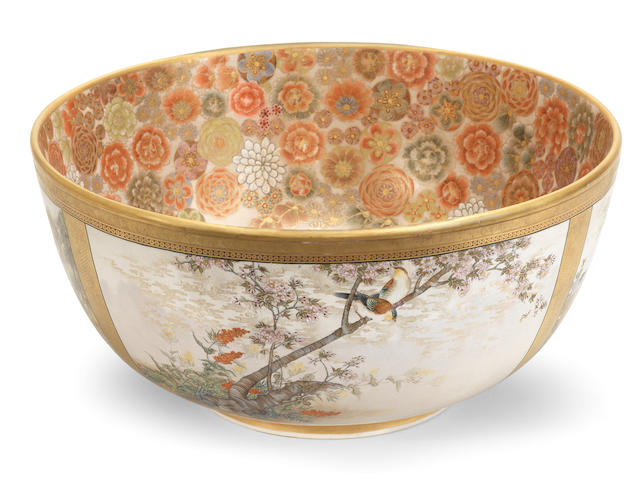 A Magnificent and unusually large Satsuma bowl  By Okamoto Ryozan, Meiji era (1868-1912), late 19th/early 20th century