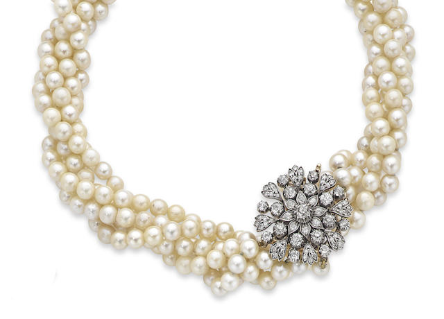 A cultured pearl and diamond clasp necklace