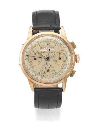 Mathey-Tissot. An 18K gold manual wind triple calendar chronograph wristwatch Ref: 1801, Circa 1960