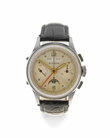 Clebar. A nickel plated manual wind triple calendar chronograph wristwatch with moon phase Circa 1940