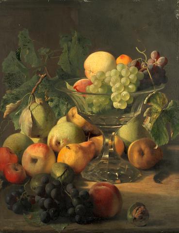 Circle of Edward Ladell (British, 1821-1886) Still life with fruit