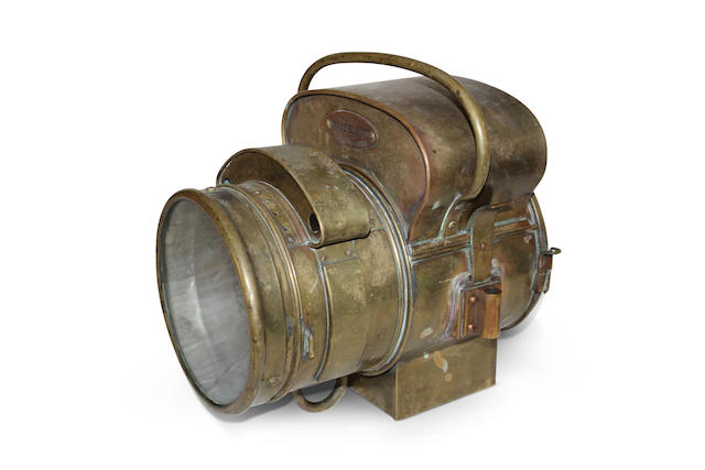 A Phare Bleriot model number 3468 self-generating acetylene headlight, French, circa 1904,