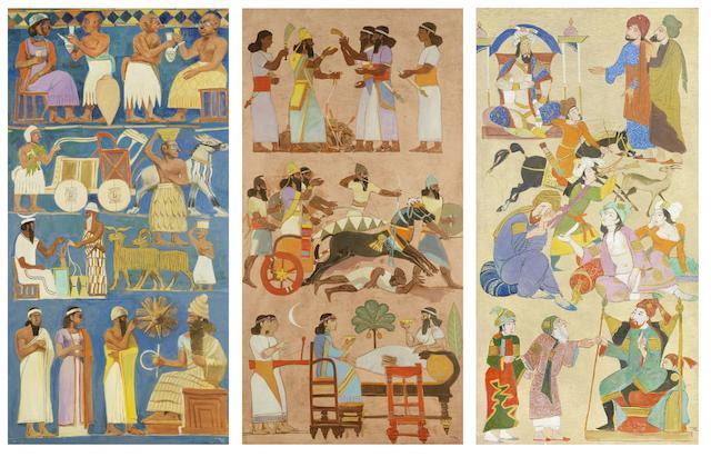 Faeq Hassan (Iraq, 1914-1992) The History of Iraq each panel 186.5 x 300cm