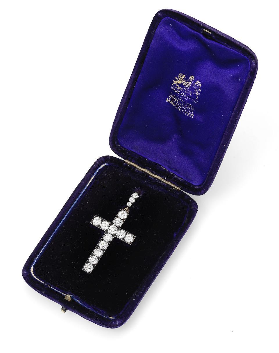 A diamond cross pendant, circa 1890