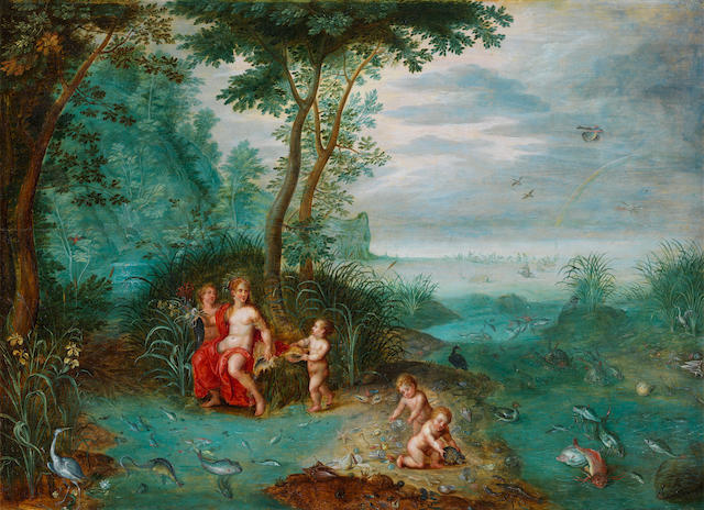 Attributed to Jan van Kessel the Elder (Antwerp 1626-1679), and Attributed to Pieter van Avont (Mechelen 1600-1652 Antwerp) An Allegory of the Element of Water
