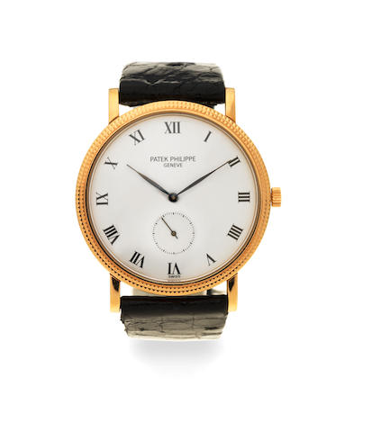 Patek Philippe. An 18K gold manual wind wristwatch  Calatrava, Ref: 3919, Circa 1990