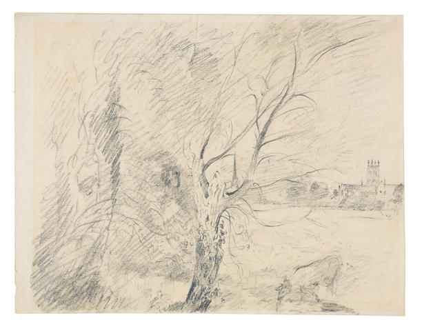 John Constable R.A. (Suffolk 1776-1837 Hampstead) Worcester Cathedral from the meadows (with a copy of the 1936 exhibition catalogue of Drawings by John Constable, R.A., Robert Dunthorne & Son, Ltd, Rembrandt Gallery, London, where this drawing is listed as number 25.)