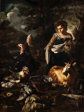 Giovanni Agostino Cassana (Venice circa 1658-1720 Genoa) A washerwoman surrounded by poultry, guinea pigs and a goat