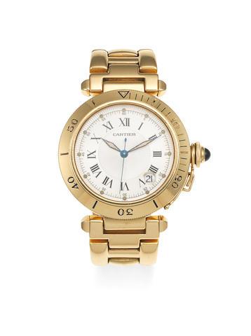 Cartier. An 18K gold automatic calendar bracelet watch  Pasha, Ref: 1027, Circa 2000