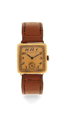 Vacheron & Constantin. An early 18K gold manual wind cushion form wristwatch Circa 1930