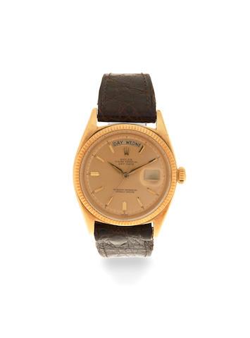 Rolex. An 18K gold automatic calendar wristwatch  Day Date, Ref: 1803, Circa 1960