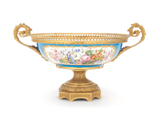 A Continental gilt bronze mounted Sevres style porcelain pedestal bowl in the 19th century style