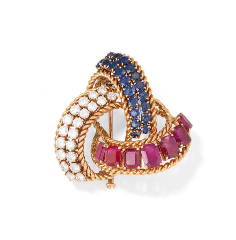 A mid-century diamond, sapphire and ruby brooch, by Boucheron