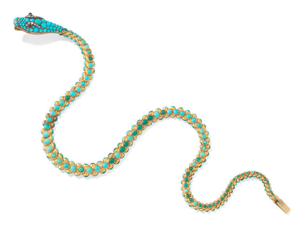 A turquoise serpent necklace,