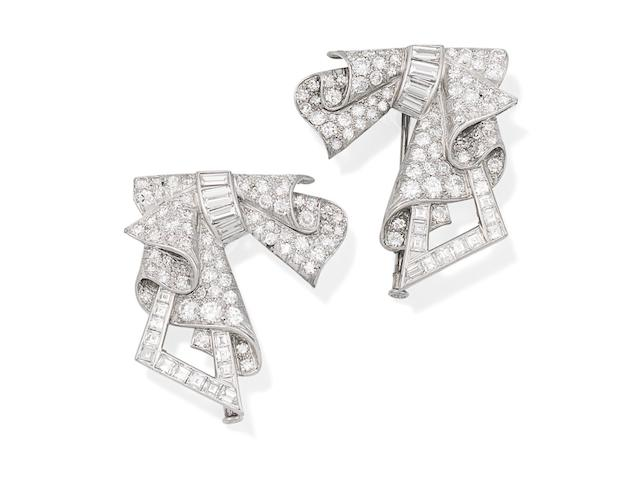 A pair of diamond brooches, (2)