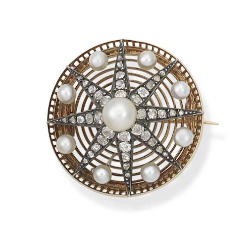 A pearl and diamond star brooch, circa 1890