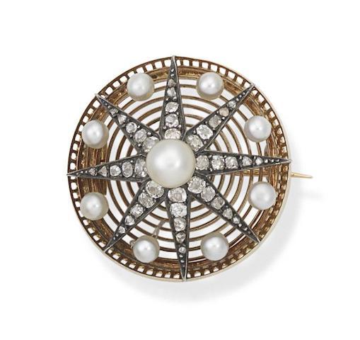 A pearl and diamond star brooch, circa 1890