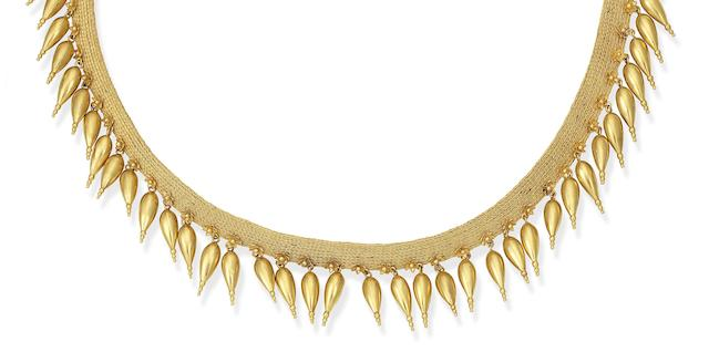 A mid 19th century fringe necklace