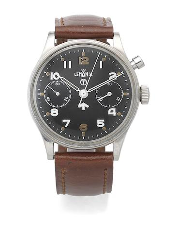 Lemania. A stainless steel manual wind single button chronograph wristwatch Circa 1950