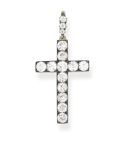 A diamond cross pendant, circa 1890