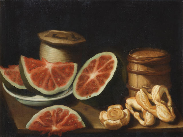 Salvator Gutierrez (active Mexico, early 18th Century) Still life of watermelons, bread, a ceramic pot and a small barrel