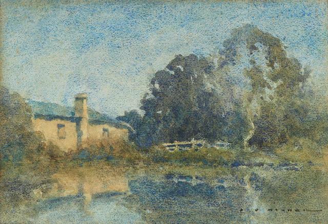 Jesse Jewhurst Hilder (1881-1916) Old Cottage by the Pool