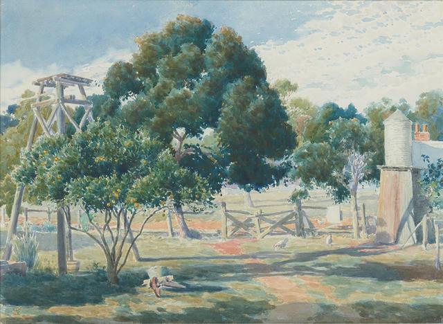 James  Linton (1869-1947) Farmyard, Pickering Brook, c.1932