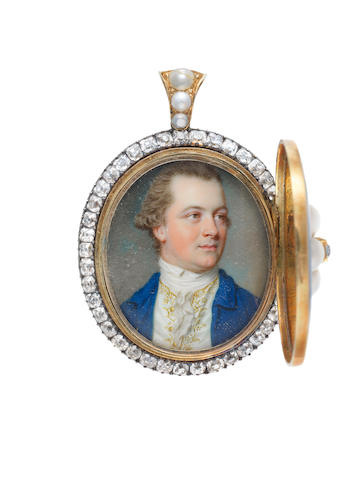 John Smart I (Norfolk 1741-1811 London) Portrait miniature of Constantine Phipps (1746-1797), bust-length, in a blue coat with a white waistcoat embroidered with gold and a white stock (in a blue enamel and gilt locket with diamonds and half-pearls )