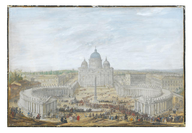 Attributed to Jacob Van Der Ulft (Dutch, 1627-1689) A view of St Peter's, Rome, with bystanders watching a papal procession leaving the piazza