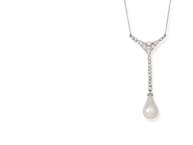 A pearl and diamond pendant necklace, circa 1910